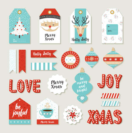 Merry christmas scrapbook set of printable DIY tags, signs and banners for holiday gifts or xmas decoration.  Vectores