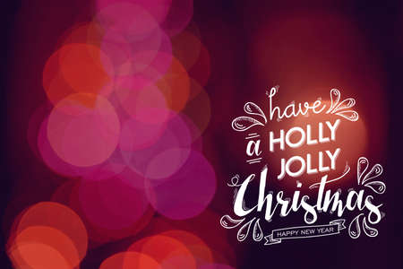 happy christmas: Merry christmas Happy new year festive text and cute doodle elements on red bokeh light background. Ideal for xmas greeting card, holiday campaign poster or web. Stock Photo