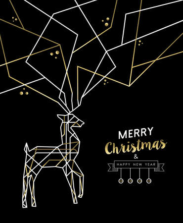 christmas deco: Merry Christmas Happy New Year gold and white deer outline art deco style antlers.