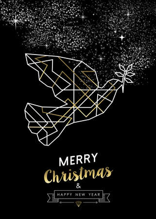 peace label: Merry Christmas Happy New Year peace dove in outline art deco geometry style, fancy gold and white design.  Illustration