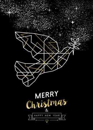 paloma de la paz: paloma de la paz Feliz Navidad Feliz Año Nuevo en el arte deco estilo de esquema geometría, diseño de lujo del oro y blanco.