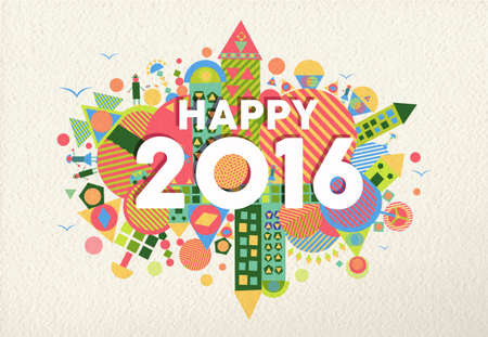 christmas party: Happy New Year 2016 retro colorful design with fun geometry elements on paper texture background.
