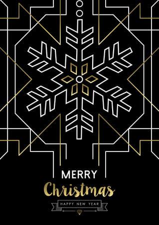 schneeflocke: Frohe Weihnachten glückliches neues Jahr Schneeflocke-Rahmen-Design in Gold Art-Deco-Retro-Stil. Illustration