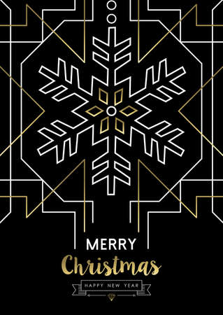 Merry Christmas Happy New Year snowflake frame design in gold art deco retro style.