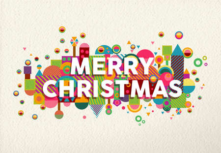 vibrant colors fun: Merry christmas vibrant colors poster with fun geometry shapes in environment composition illustration.