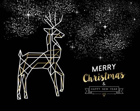 joyeux noel: Joyeux or Joyeux Noël Nouvel An et le cerf dans les grandes lignes de style art déco.