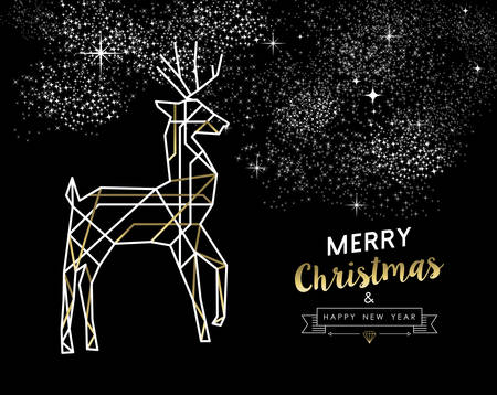 elegant christmas: Merry Christmas Happy New Year gold and white deer in outline art deco style.