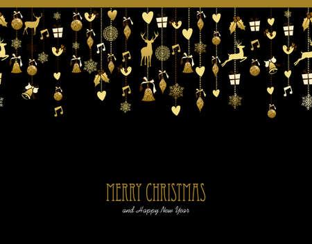 Veselé Vánoce Šťastný Nový Rok sváteční dekorace ve zlaté barvě s jeleny, cesmína, pták, sníh a dárkové prvky. Ideální pro vánoční přání, pozvání události nebo plakátu. EPS10 vektorový.
