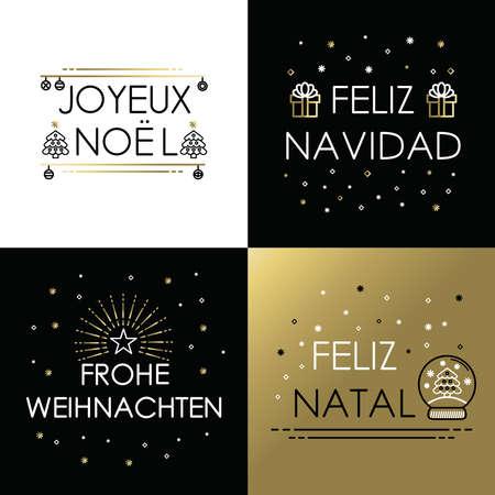 メリー クリスマス グリーティング カード金概要様式: ジョワイユ ノエル、フェリス ・ ナヴィダ、frohe アドベントとフェリス出生テキスト。EPS10 ベ