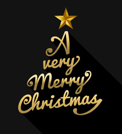 merry: Merry christmas design with gold text making xmas pine tree shape. Ideal for holiday greeting card, poster or web. EPS10 vector.