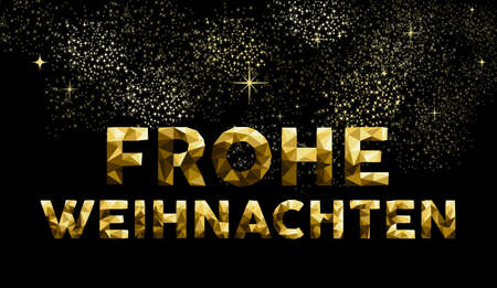 frohe: Merry Christmas greeting card in German language: Frohe Weihnachten gold low poly style. Ideal for holiday poster, web or worldwide campaign. EPS10 vector.
