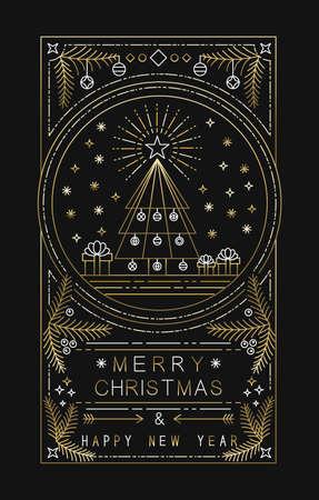 Frohe Weihnachten Frohes Neues Jahr Design mit Weihnachtsbaum, Geschenke und Dekoration in einfachen Goldkontur Stil. Ideal für den Urlaub Grußkarte, Poster oder Web. EPS10 Vektor.