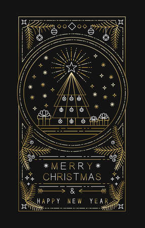 Merry Christmas Happy New Year design with xmas tree, gifts and decoration in simple gold outline style. Ideal for holiday greeting card, poster or web. EPS10 vector.