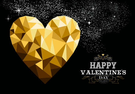valentines card: Happy valentines day love greeting card with heart shape design in gold low poly style and label decoration. EPS10 vector.