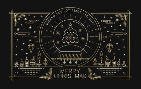 general idea: diseño de la tarjeta de felicitación de la Feliz Navidad en el estilo de contorno de oro con elementos de vacaciones de la ciudad y de texto. Ideal para Navidad cartel, campaña o en la web. EPS10 del vector.