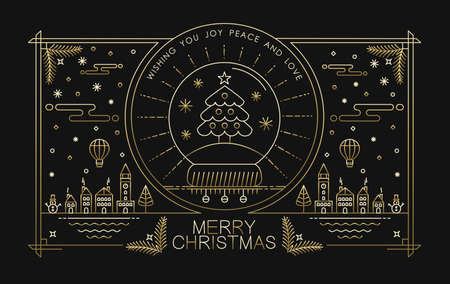 hipster: Merry christmas greeting card design in gold outline style with city holiday elements and text. Ideal for xmas poster, campaign or web. EPS10 vector.