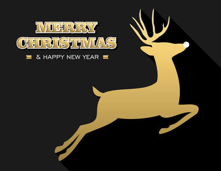Merry Christmas Happy New Year design in gold and black with reindeer silhouette. Ideal for holiday greeting card, poster or web. EPS10 vector. Illustration