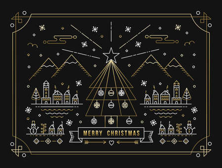 Merry Christmas winter city with decoration, xmas tree and holiday elements in gold outline style. Ideal for greeting card, poster or web. EPS10 vector. Stock Illustratie