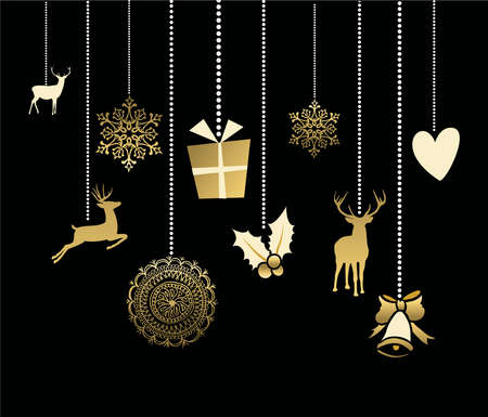 Holiday hanging decoration in gold color with cute reindeer, snow, heart and holly elements. ideal for Christmas greeting card, Xmas poster or web. EPS10 vector. Stock Illustratie