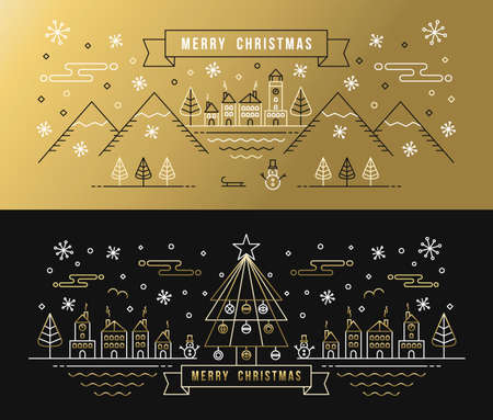 Merry christmas greeting card set in gold black outline style with city and winter holiday elements. EPS10 vector. Illustration