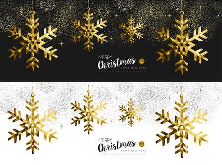 Joyeux Noël heureux Nouvel An couverture bannière médias sociaux mis en or bas poly formes origami flocon de neige sur fond étoiles et feu d'artifice. vecteur EPS10.