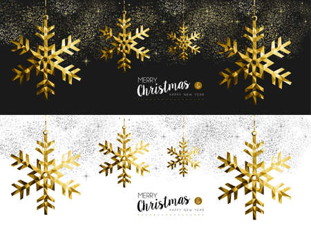 christmas gold: Merry Christmas Happy New Year social media cover banner set with gold low poly origami snowflake shapes on stars and firework background. EPS10 vector.
