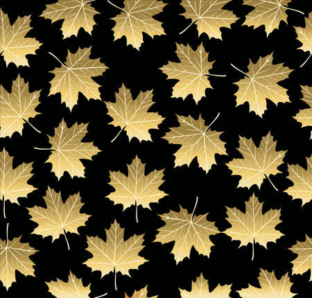 Gold maple tree leaf fall autumn concept seamless pattern on black background. Ideal for card, wrapping paper or print texture. EPS10 vector. Illustration