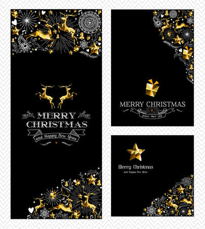 Merry Christmas Happy New Year elegant greeting card design set with text, gold low poly reindeer and hand drawn holiday elements. EPS10 vector.