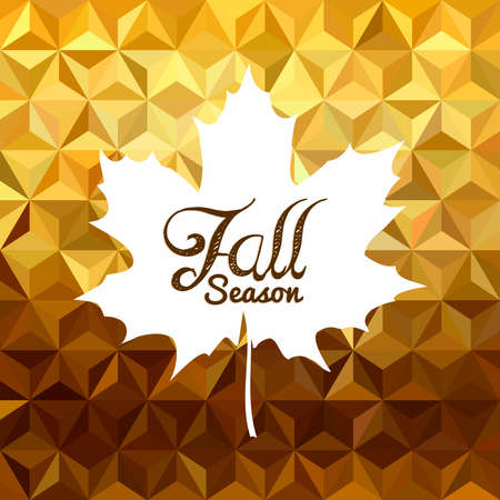 gold leaf: Fall season composition with maple leaf silhouette on gold low poly hipster geometry background. Ideal for business autumn campaign. EPS10 vector. Illustration