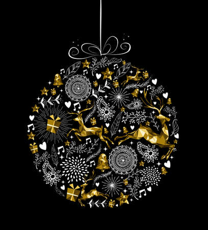 Merry Christmas Happy New Year greeting card design, holiday elements and reindeer in gold low poly style making bauble ball ornament shape silhouette. EPS10 vector.