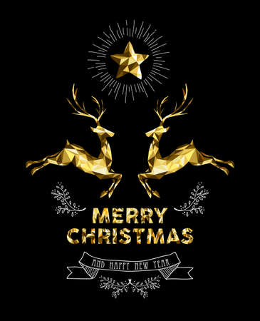 Merry Christmas happy new year elegant label design illustration in gold low poly style with reindeer and hand drawn ornament decoration. Ideal for holiday greeting card, Xmas poster or web.  EPS10 vector.