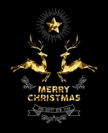 Vrolijk kerstfeest Gelukkig Nieuwjaar elegant label ontwerp illustratie in goud laag poly stijl met rendieren en handgetekende ornament decoratie. Ideaal voor vakantie wenskaart, Xmas poster of web. EPS10 vector. Stock Illustratie