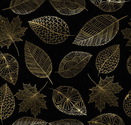 gold colour: Fall seamless pattern with gold hand drawn leaves background. Ideal for card, wrapping paper, web or print texture. EPS10 vector.