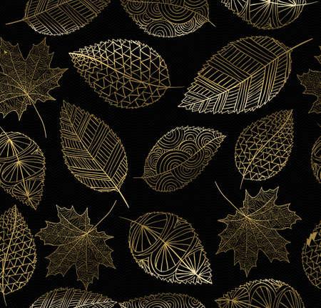 hojas parra: Otoño sin patrón, con la mano de oro elaborado por fondo de hojas. Ideal para tarjetas, papel de embalaje, web o impresión de la textura. EPS10 del vector.