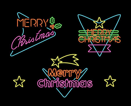 neon light: Merry christmas vintage neon light label 50s set with text and xmas shapes. Ideal for holiday designs.  EPS10 vector.