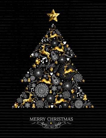 Merry Christmas retro greeting card design with gold low poly reindeer, stars and holiday elements making xmas pine tree silhouette shape. EPS10 vector.
