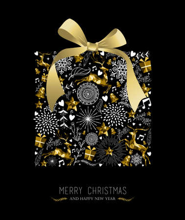 Merry Christmas Happy New Year greeting card design, holiday elements and reindeer in gold low poly style making gift shape silhouette. EPS10 vector.