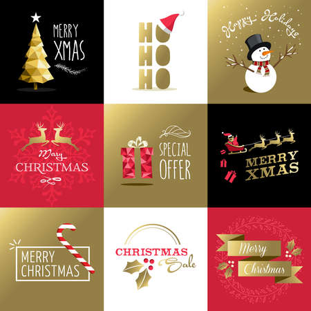 retro christmas: Merry christmas retro style design set in gold colors, includes greeting card designs, labels, sale illustrations and holiday elements. Ideal for winter season. EPS10 vector.