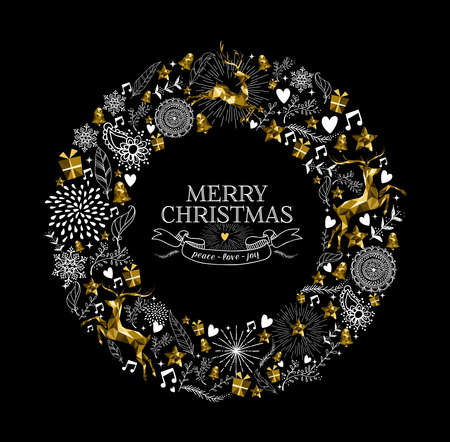 Merry Christmas label design with elegant wreath made from gold low poly reindeer silhouettes and hand drawn holiday elements. Ideal for Xmas greeting card. EPS10 vector.