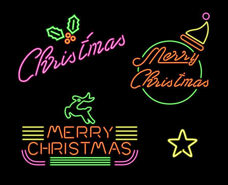 50s: Merry Christmas retro label set in neon light style, 50s 60s decoration with Xmas text and holiday elements. Includes holly, Santa hat, star, reindeer. EPS10 vector.