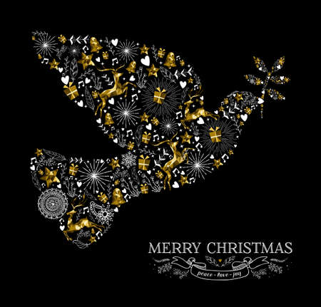 Merry Christmas Happy New Year greeting card design, holiday elements and reindeer in gold low poly style making peace dove bird shape silhouette. EPS10 vector. Çizim