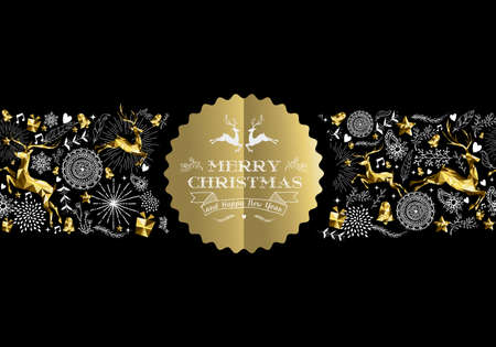 Merry Christmas Happy New Year gold label badge with low poly golden reindeer and holiday elements seamless pattern. Ideal for xmas greeting card, poster or web. EPS10 vector.
