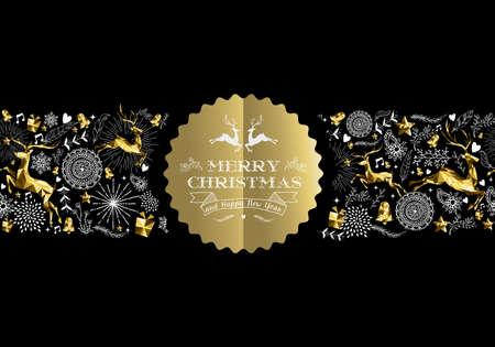 Vrolijk kerstfeest Gelukkig Nieuwjaar goud label badge met lage poly gouden rendieren en vakantie elementen naadloos patroon. Ideaal voor xmas wenskaart, poster of web. EPS10 vector. Stock Illustratie