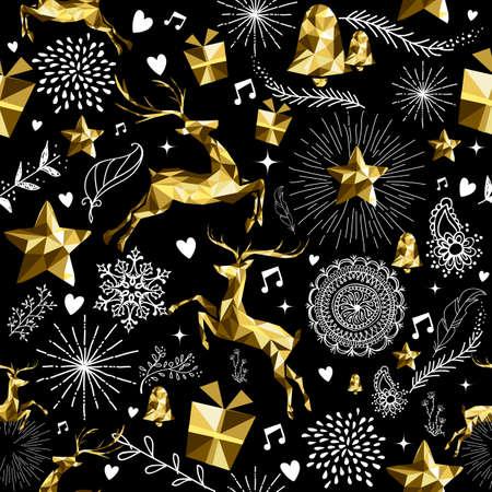 골드 럭셔리 낮은 폴리 순록 및 휴일 요소와 축제 복고 원활한 패턴입니다. 크리스마스 인사말 카드 배경, 새 해 또는 웹에 적합합니다. EPS10 벡터입니 일러스트
