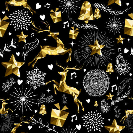 reindeer silhouette: Festive retro seamless pattern with gold luxury low poly reindeer and holiday elements. Ideal for christmas greeting card background, new year or web.  EPS10 vector.