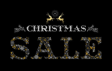 christmas sale: Christmas sale design with reindeer label in gold color and holiday elements making text shape. Ideal for commercial campaign, shop poster or web. EPS10 vector.