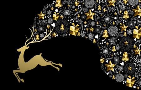 reno: Navidad año nuevo concepto de ilustración, diseño, silueta de salto del reno de oro con elementos de oro de baja poli vacaciones. Ideal para tarjetas de navidad saludo. EPS10 del vector.