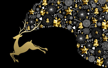 Christmas new year concept illustration design, jumping golden reindeer silhouette with gold low poly holiday elements. Ideal for xmas greeting card.  EPS10 vector.