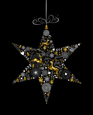 Merry Christmas Happy New Year greeting card design, holiday elements and reindeer in gold low poly style making star ornament shape silhouette. EPS10 vector. Illustration
