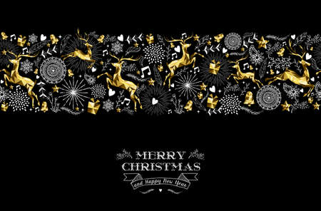Merry christmas happy new year label design with holiday seamless pattern, reindeer silhouette and xmas elements in gold low poly style. Ideal for greeting card, poster or web. EPS10 vector.